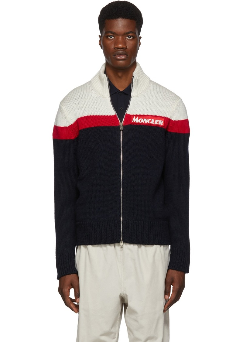Moncler Off-White & Navy Maglione Tricot Zip Sweater