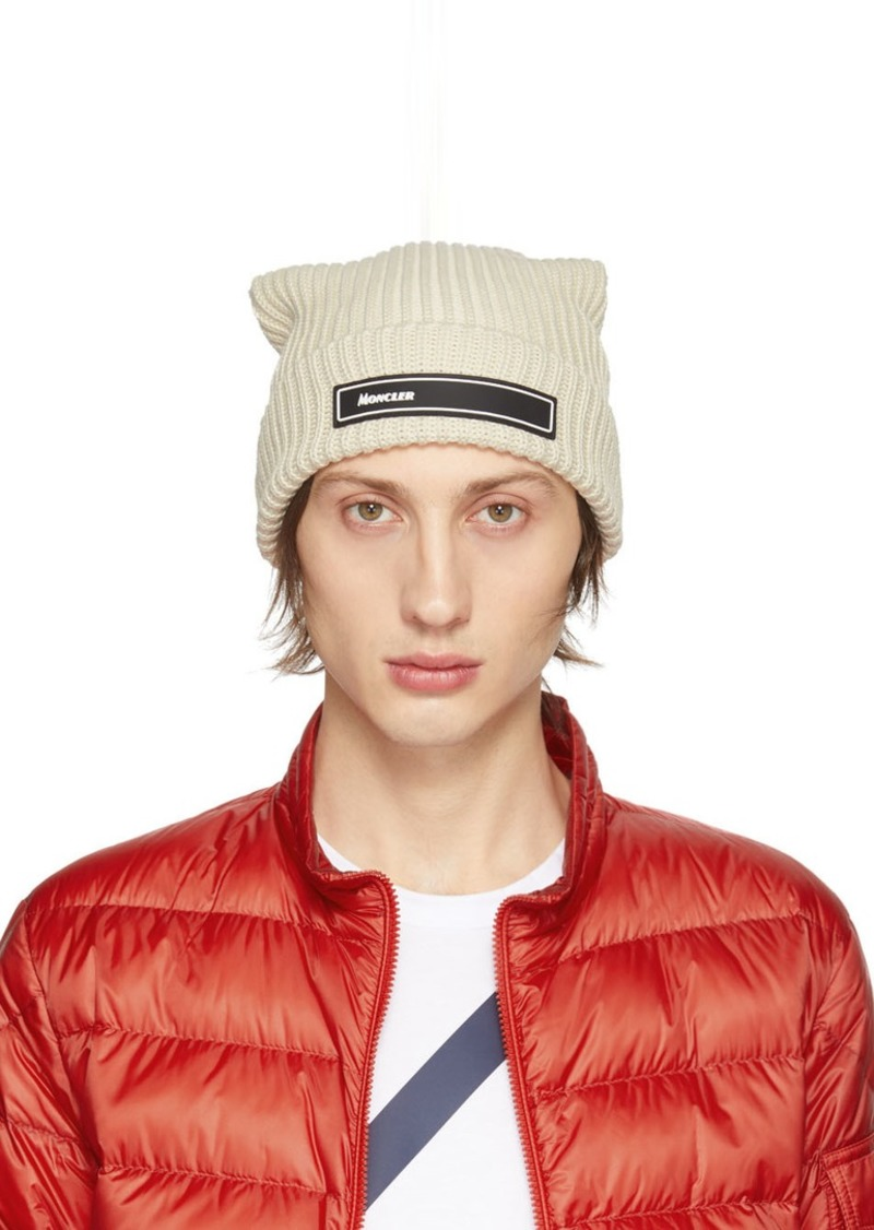Moncler Off-White Knit Beanie