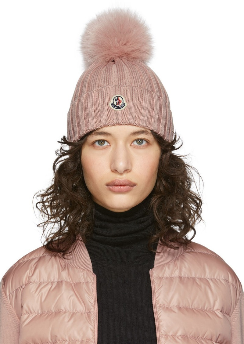 Moncler Pink Fur Pom Pom Beanie