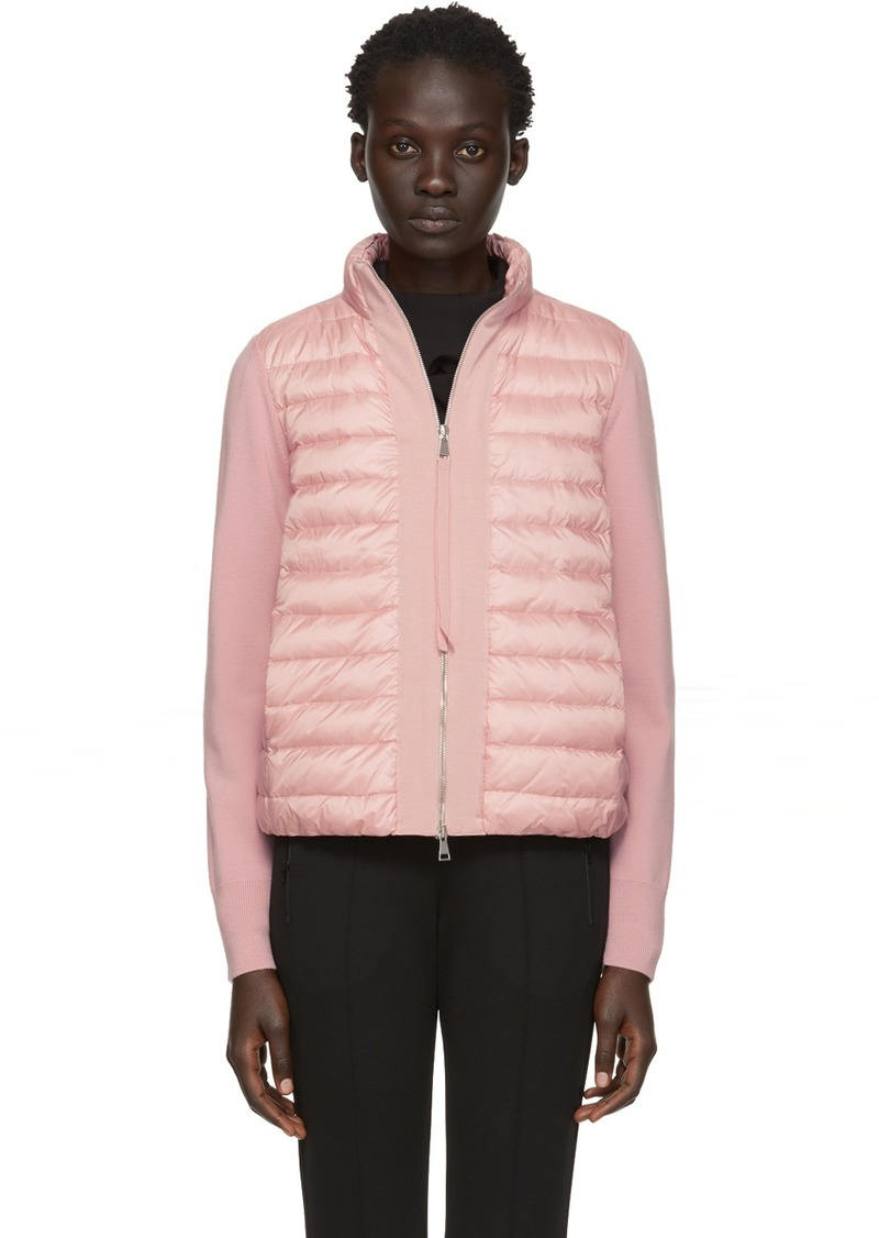Moncler Pink Knit & Down Jacket