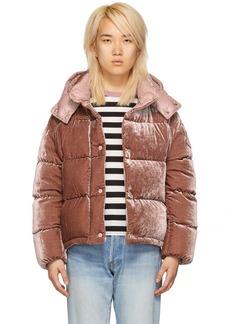 Moncler Pink Velvet Down Caille Jacket