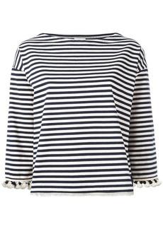 Moncler pom pom fringed trim striped top