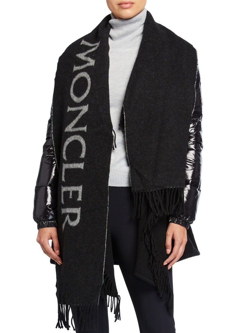 Moncler Puffer-Sleeve Wool Scarf Jacket