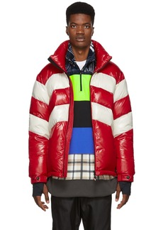 Moncler Red & Off-White Down Golzern Jacket
