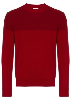 Moncler red tricot stripe virgin wool jumper