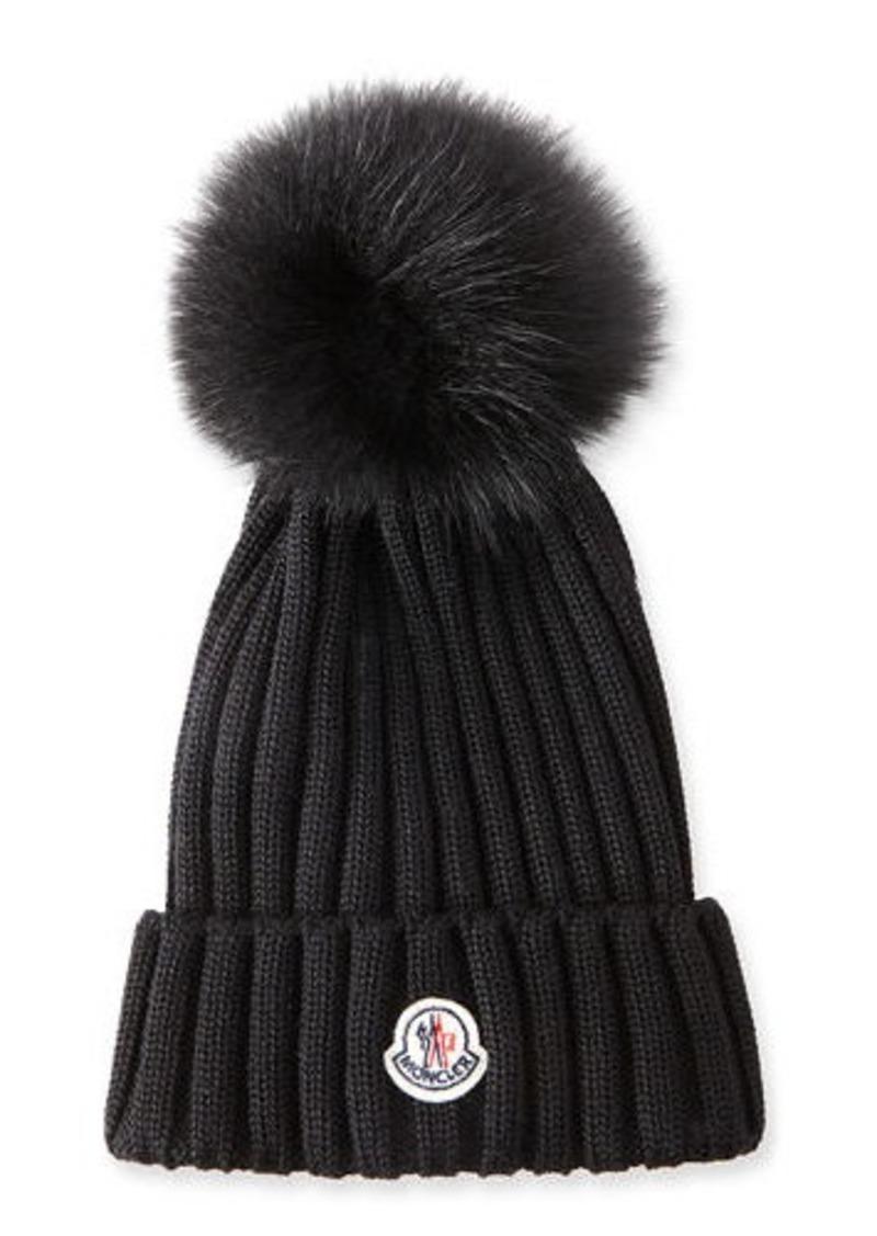 8355ba528b2 Moncler Ribbed-Knit Beanie Hat w Fur Pompom