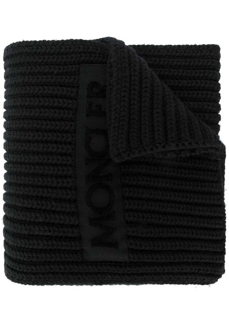 Moncler ribbed logo scarf