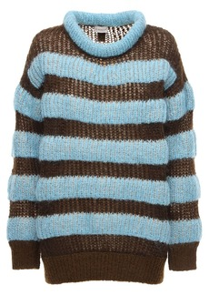 Moncler Striped Mohair Blend Knit Sweater