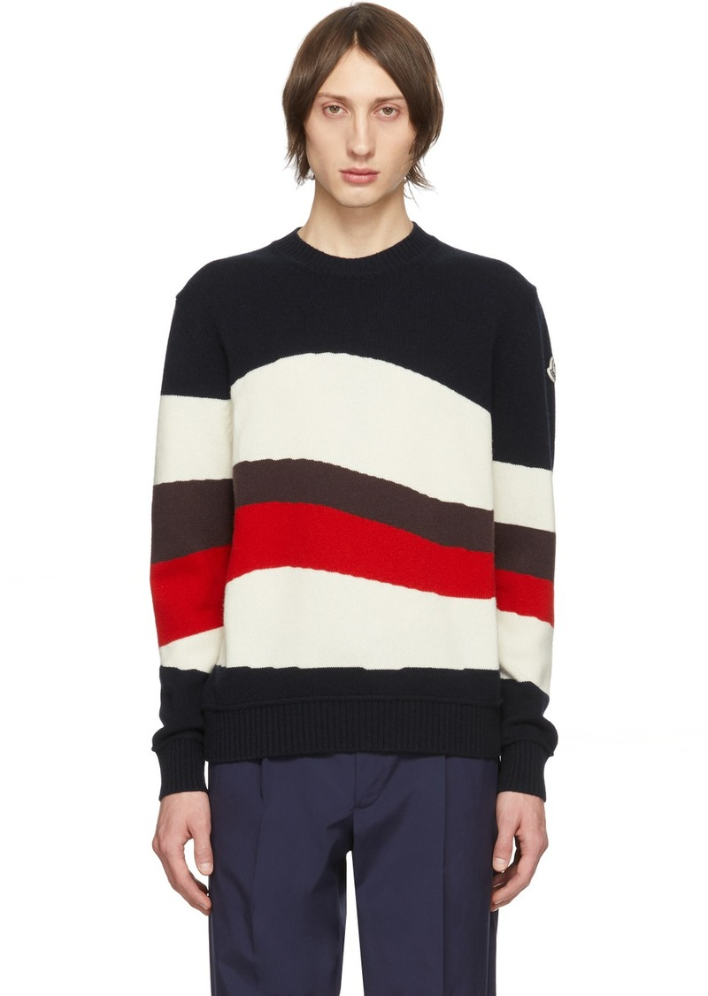 Moncler Tricolor Wool & Mohair Red Wave Sweater