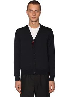 Moncler V Neck Virgin Wool Tricot Cardigan