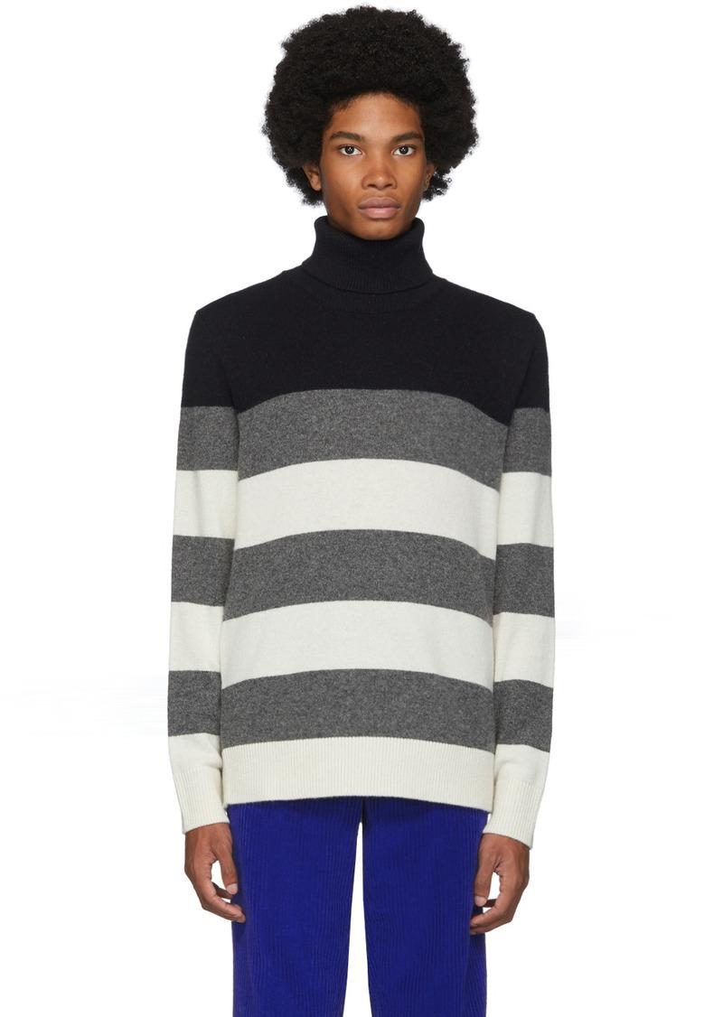 Moncler White & Grey Stripe Turtleneck