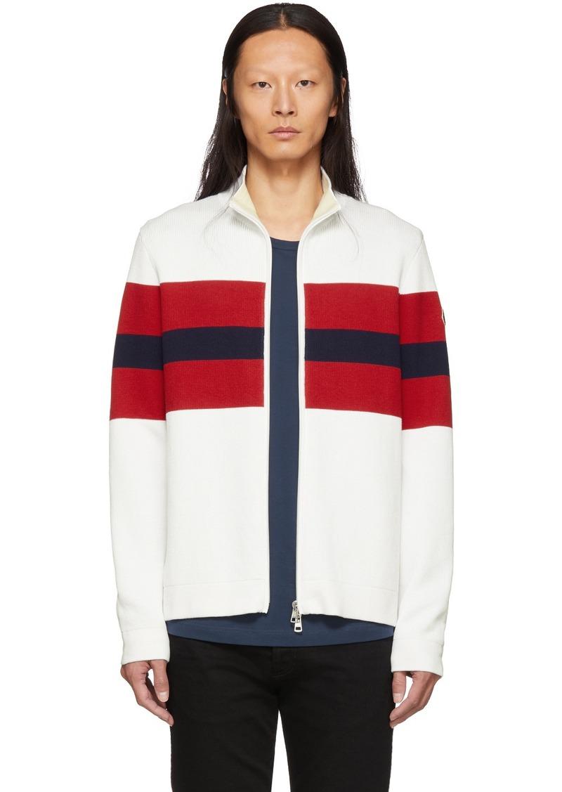 Moncler White & Red Zip-Up Cardigan