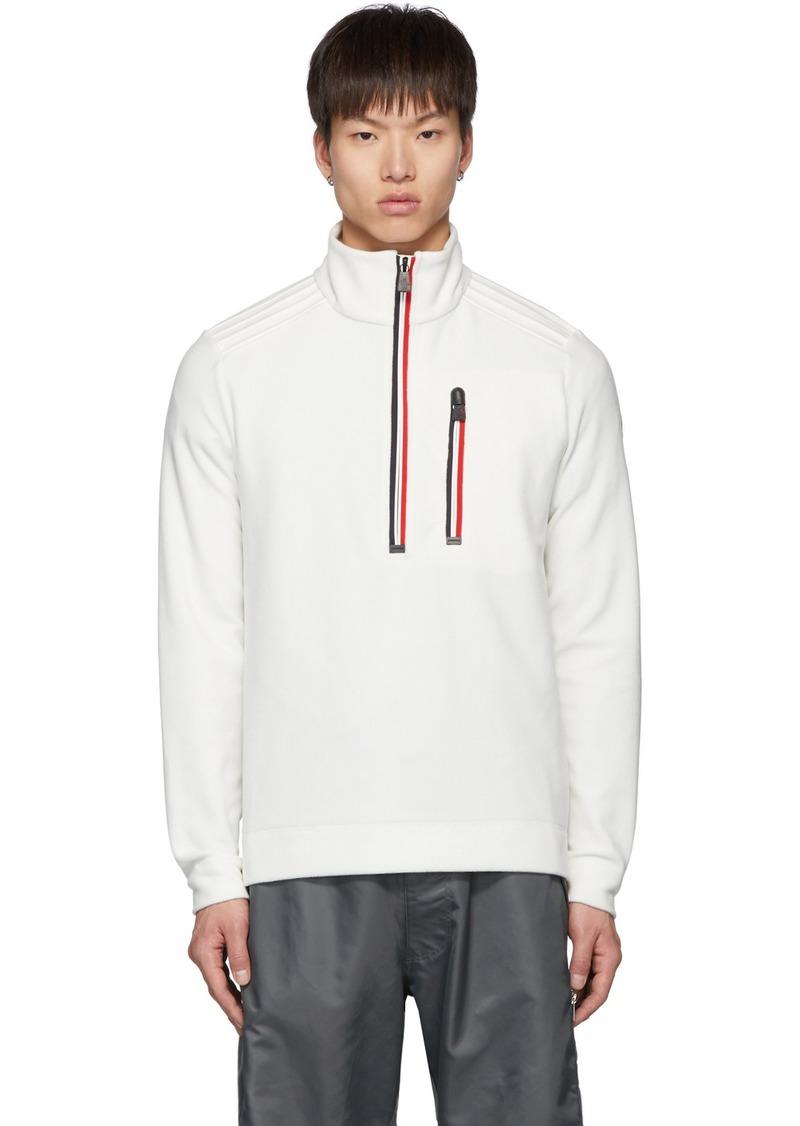 Moncler White Fleece Half-Zip Sweater