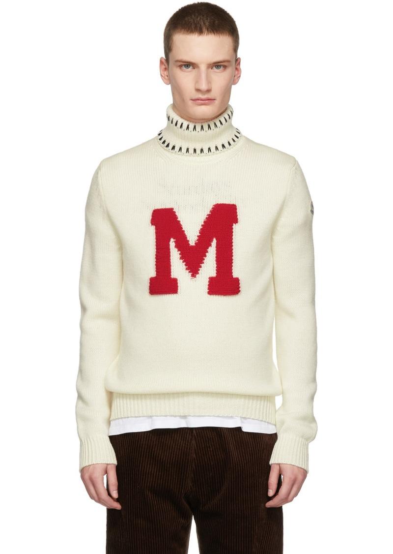 Moncler White Graphic Maglione Turtleneck
