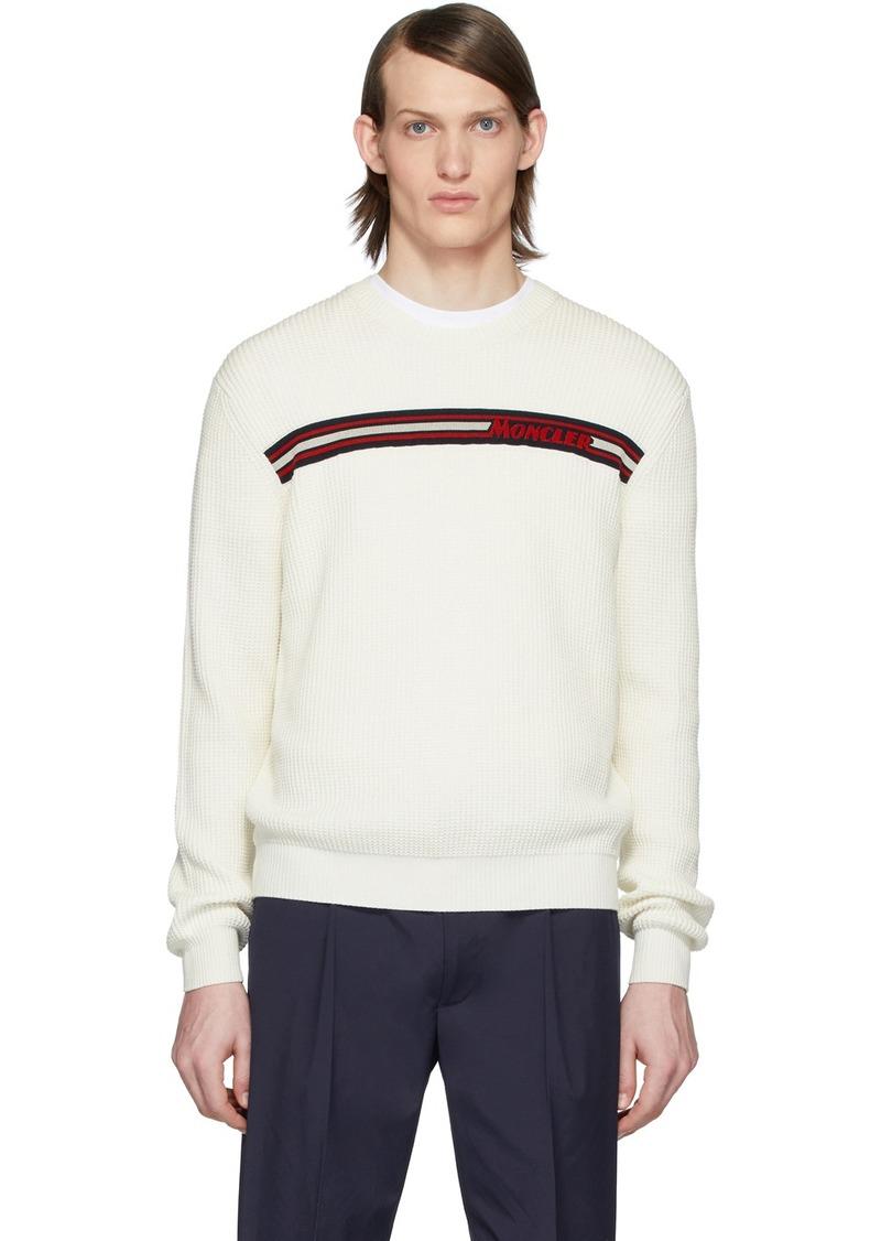 Moncler White Knit Crewneck Sweater
