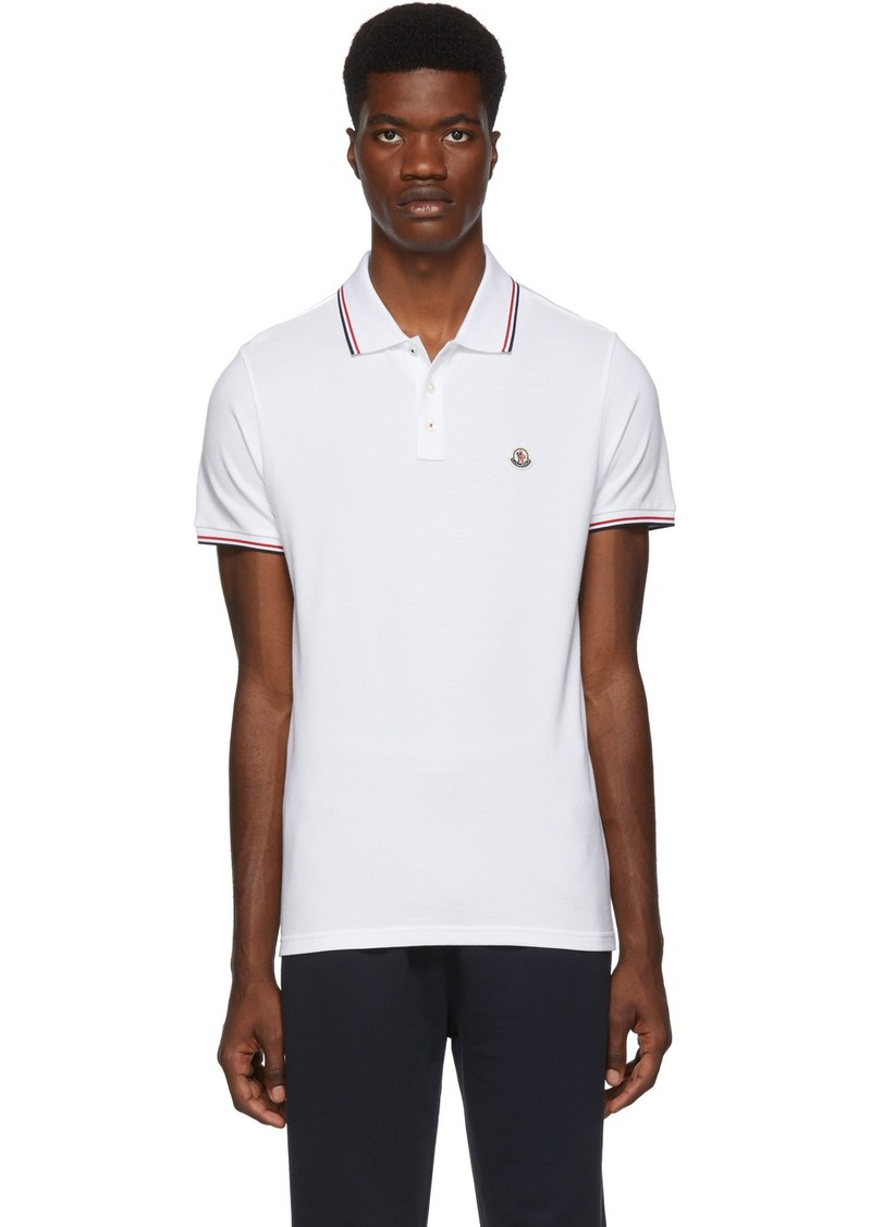Moncler White Logo Patch Polo