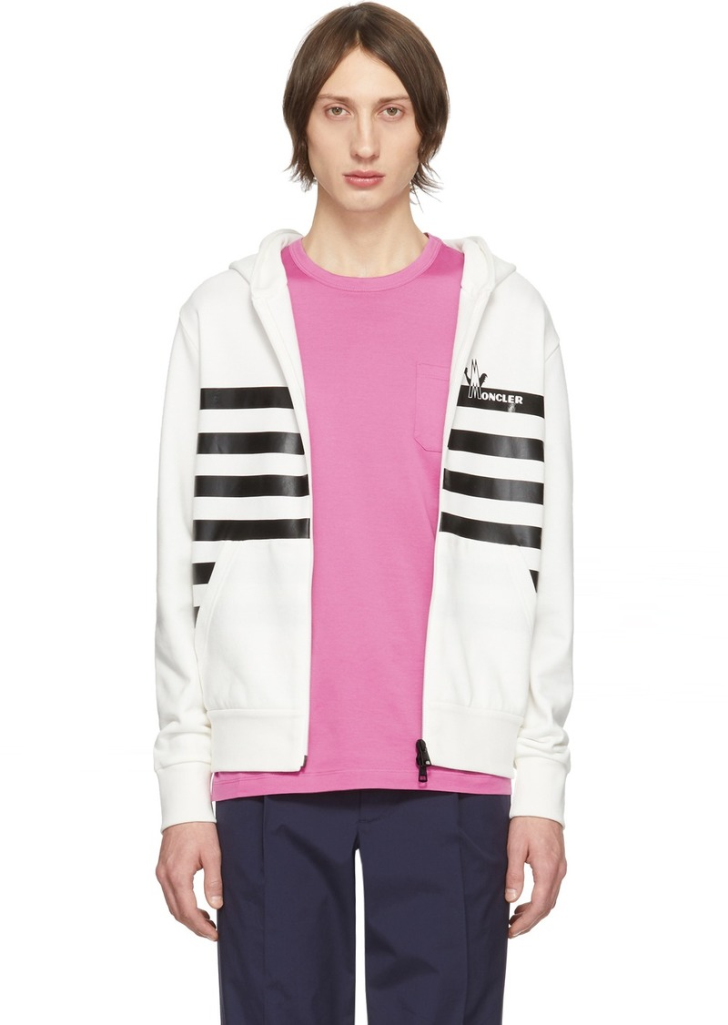 Moncler White Maglia Cardigan Hoodie