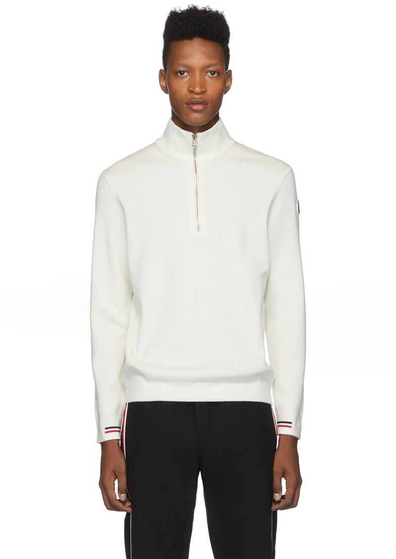 Moncler White Maglione Lupetto Zip-Up Sweater