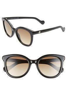 Women's Moncler 52mm Sunglasses - Shiny Black/ Gradient Brown