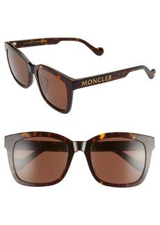 Women's Moncler 55mm Square Sunglasses - Dark Havana/ Roviex