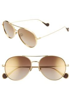 Women's Moncler 57mm Mirrored Aviator Sunglasses - Gold/ Roviex Mirror