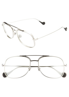 Women's Moncler 57mm Optical Glasses - Shiny Palladium/ Clear