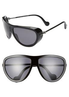 Women's Moncler 61mm Polarized Aviator Sunglasses - Black/ Smoke Polarized