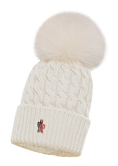 Women's Moncler Cable Virgin Wool Beanie With Genuine Fox Fur Pom - Ivory