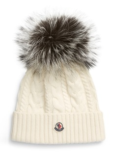 Women's Moncler Cable Wool & Cashmere Beanie With Genuine Fox Fur Pom - White