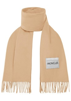 Women's Moncler Logo Patch Fringe Wool Scarf