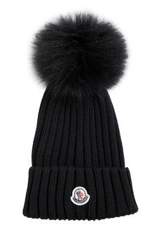 Women's Moncler Rib Virgin Wool Beanie With Genuine Fox Fur Pom - Black