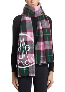 Women's Moncler Tartan Plaid Wool Blend Scarf