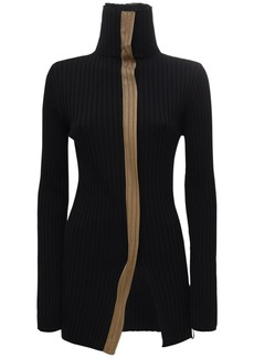 Moncler Wool & Viscose Knit High Collar Sweater