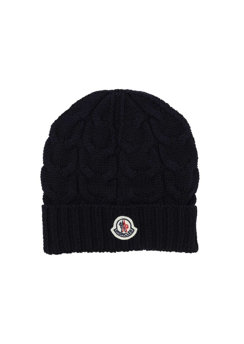 Moncler Cable Knit Wool Beanie Hat