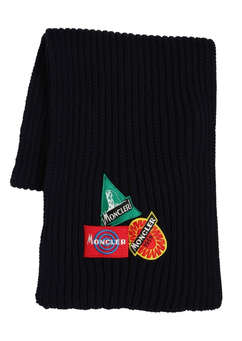 Moncler Wool Knit Scarf W/ Patches
