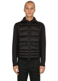 Moncler Wool Tricot & Nylon Down Jacket