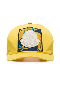 75d9aad259c Moncler yellow logo patch embroidered cotton baseball cap