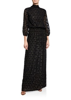 Monique Lhuillier 3/4-Sleeve Clipped Metallic Dot Maxi Dress