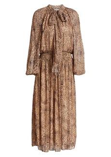 ML Monique Lhuillier Animal-Print Tieneck Midi Dress