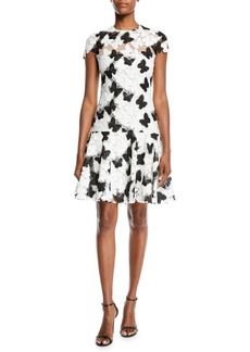 Monique Lhuillier Butterfly Guipure Lace Cap-Sleeve Flounce Dress