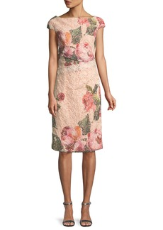 Monique Lhuillier Cap-Sleeve Floral-Print Lace Cocktail Sheath Dress