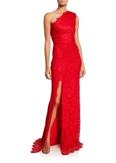 Monique Lhuillier Chantilly Lace One-Shoulder Gown