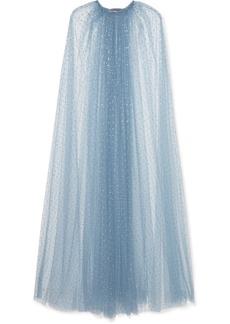 Monique Lhuillier Crystal-embellished Tulle Cape