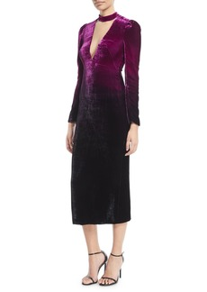 Monique Lhuillier Deep-V Long-Sleeve Ombre Velvet Cocktail Dress