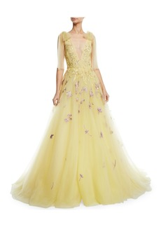 Monique Lhuillier Deep V-Neck Embroidered Tulle A-Line Gown