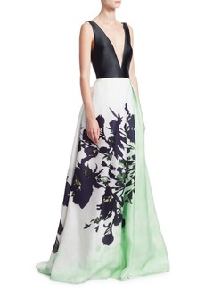 Monique Lhuillier Deep V-Neck Sleeveless Ball Gown