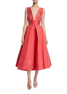 Monique Lhuillier Deep V-Neck Sleeveless Mikado Gown