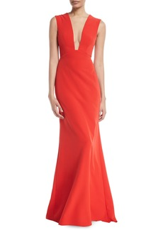 Monique Lhuillier Deep-V Sleeveless Bow-Detail Trumpet Evening Gown