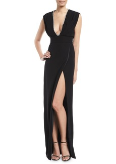 Monique Lhuillier Deep-V Sleeveless High-Slit Crepe Column Evening Gown