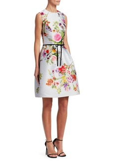 Monique Lhuillier Dotted Bouquet Sleeveless Dress